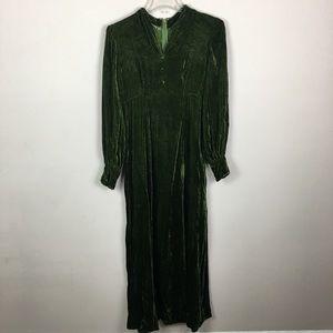 Vintage handmade green velvet maxi gown